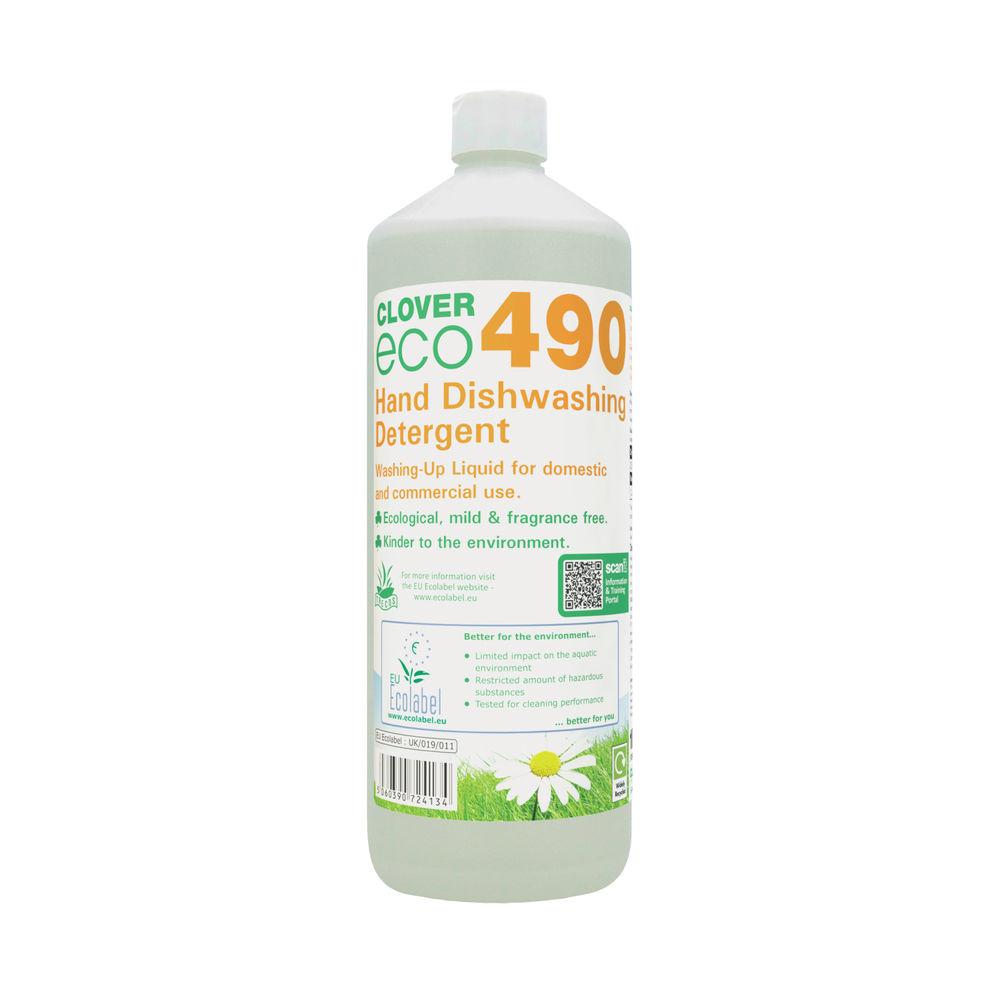 Clover 1 Litre 490 Dishwashing Detergent (Pack of 12) - 490