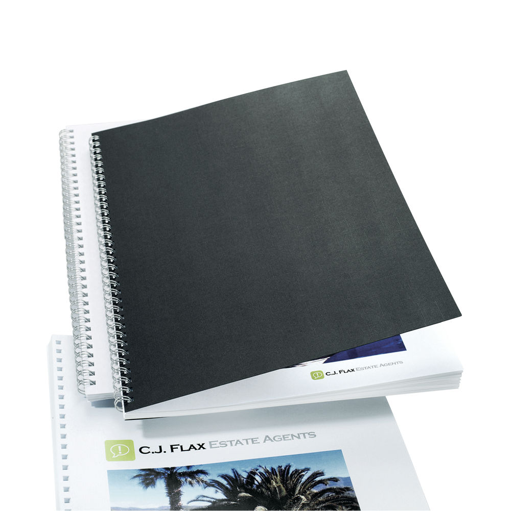 GBC LinenWeave A4 Binding Cover 250 gsm Black (Pack of 100) CE050010