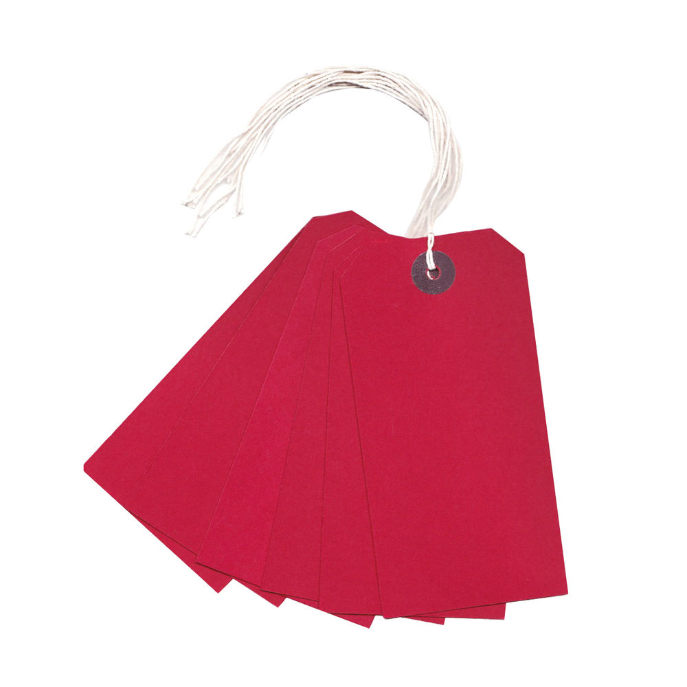 Strung Red 120 x 60mm Tags, Pack of 1000 - KF01627
