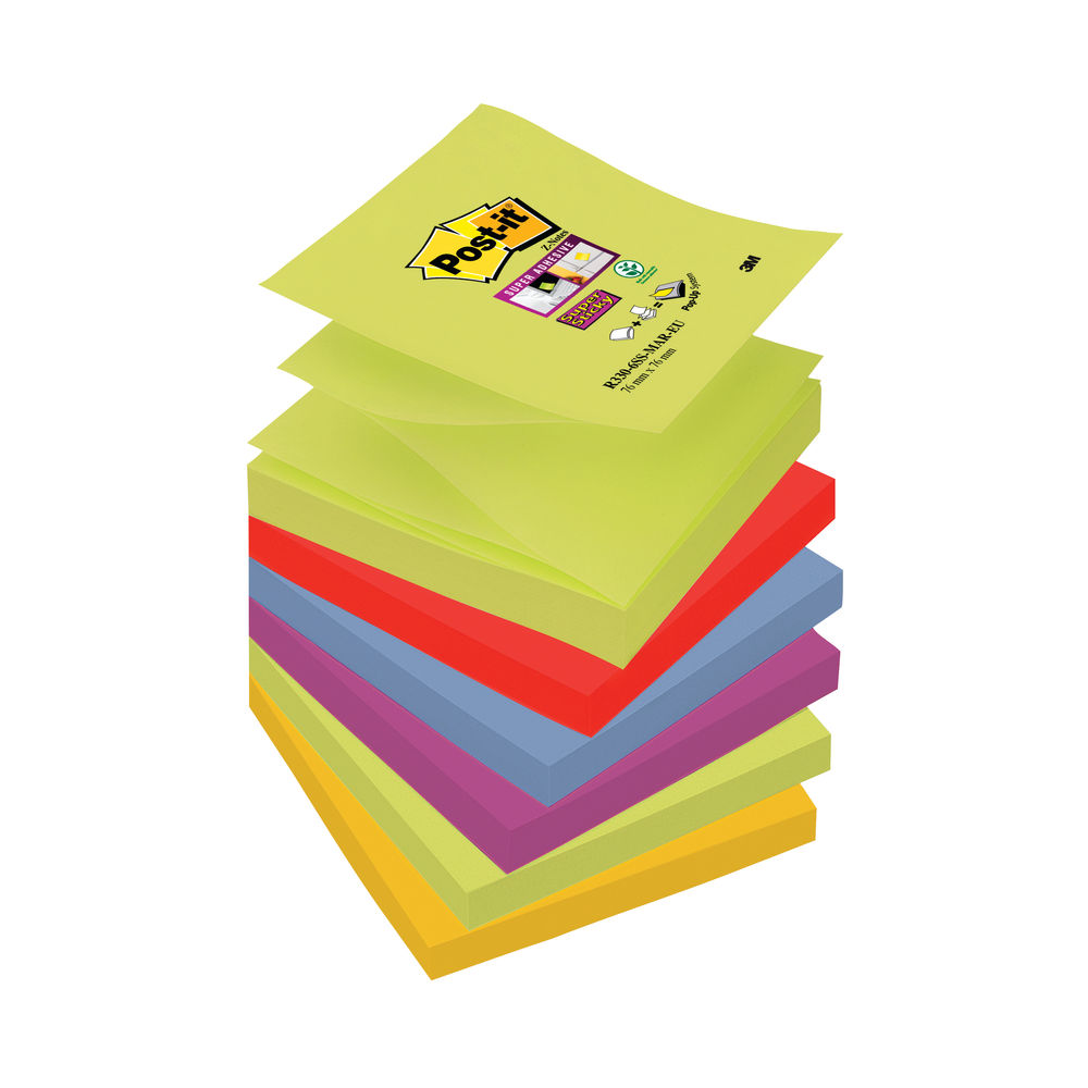 Post-it 76 x 76mm Marrakesh Super Sticky Z-Notes, Pack of 6 | R330-6SS-MAR-EU