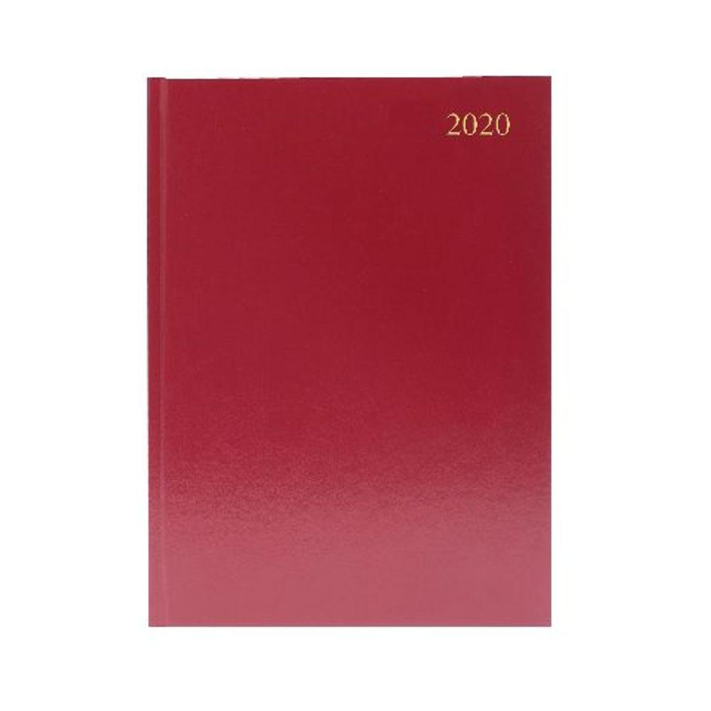 Burgundy A4 2020 Week to View Desk Diary - KFA43BG20