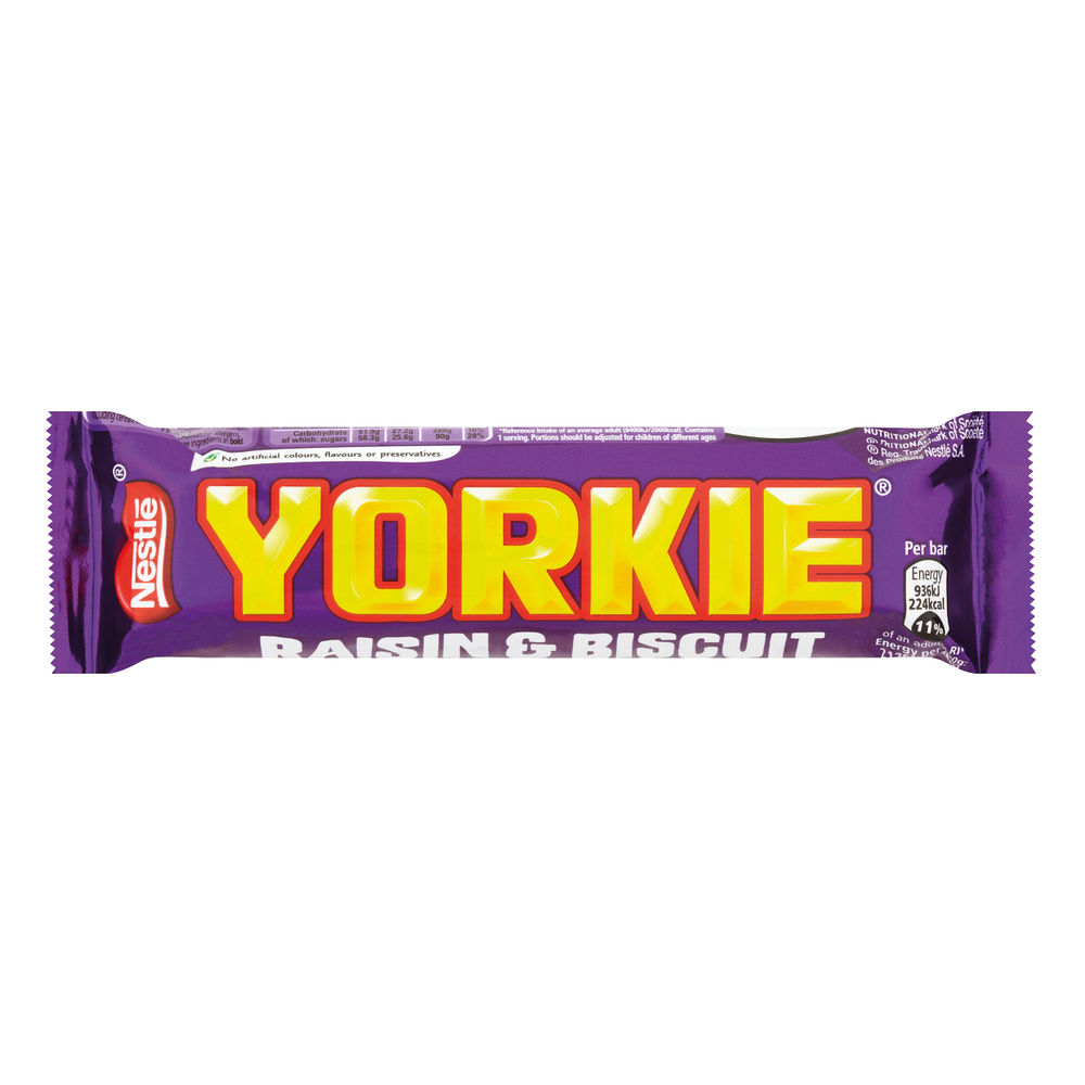 Nestle 44g Raisin and Biscuit Yorkie Bars, Pack of 24 - 12360869