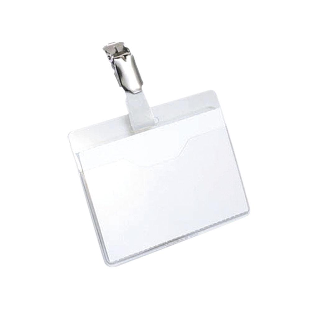 Durable Clip On Landscape Name Badge 60x90mm Transparent (Pack of 25) 8106