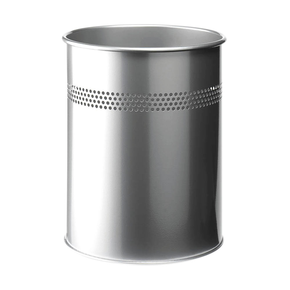 Durable Metal Waste Bin 15 Litre Silver 3300/23