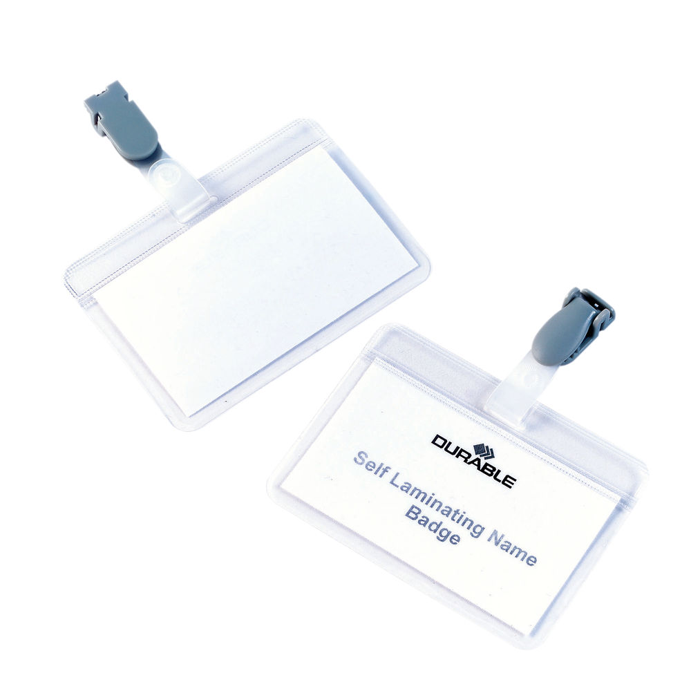 Durable Self Laminating Name Badge 54x90mm Clear Transparent (Pack of 25) 8149/19