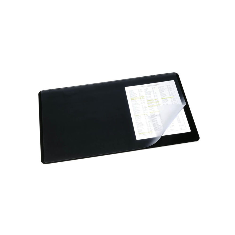 Durable Desk Mat with Overlay W530 x D400mm Black/Clear 7202/01