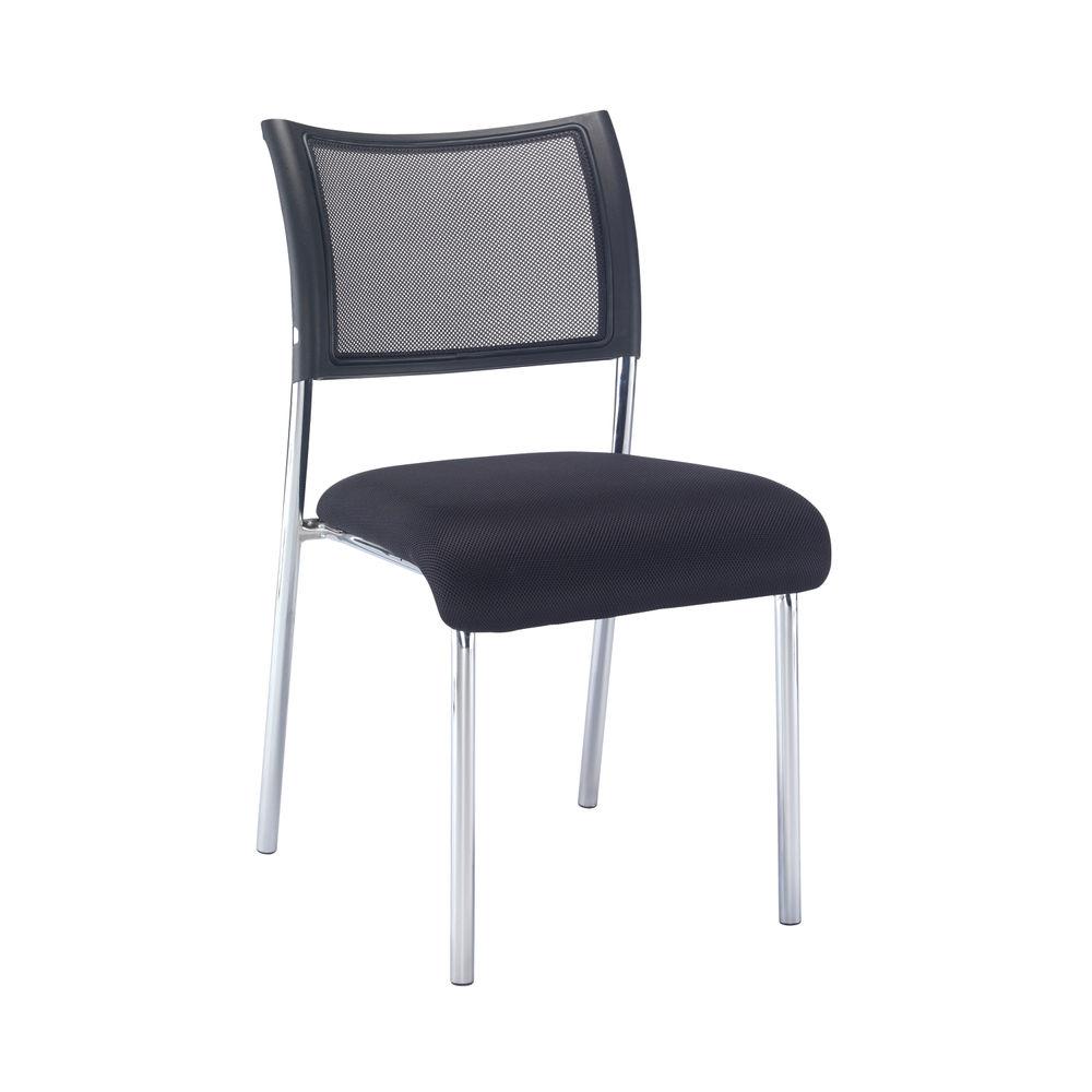 Jemini Jupiter Black/Chrome Mesh Back Conference Side Chair