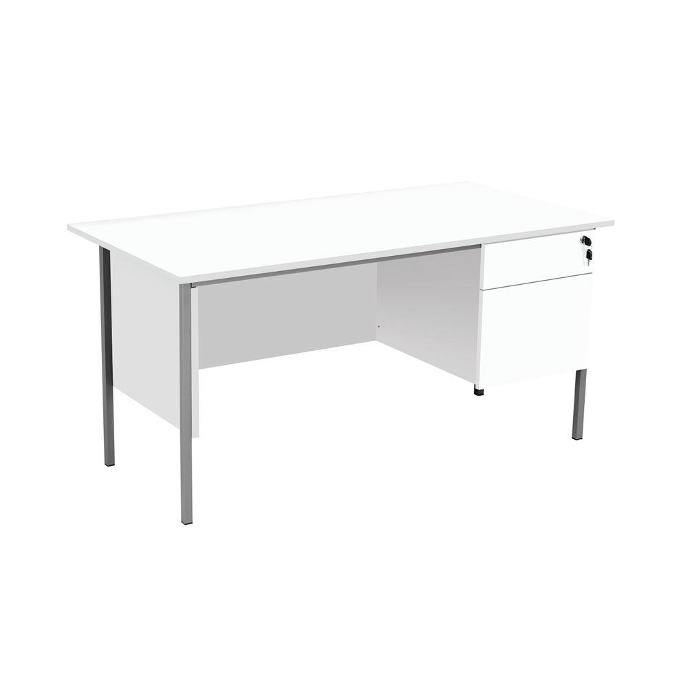 Serrion 1500mm White 2 Drawer 4 Leg Rectangular Desk