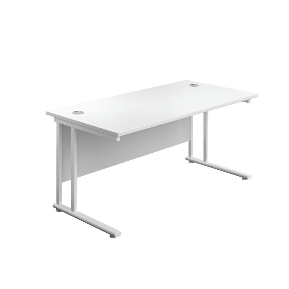 Jemini 1400x800mm White/White Cantilever Rectangular Desk