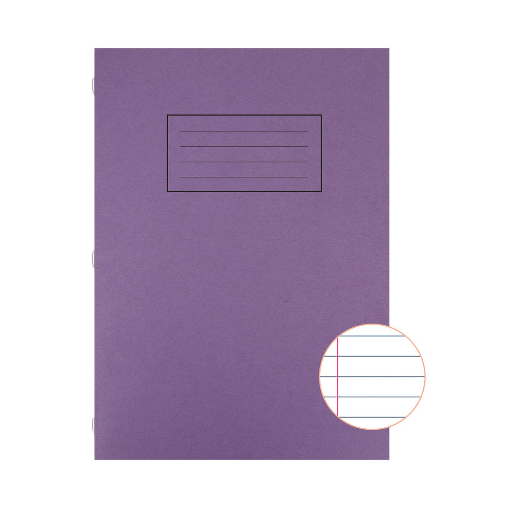 Silvine A4 Purple Ruled Exercise Books, Pack of 10 | EX111