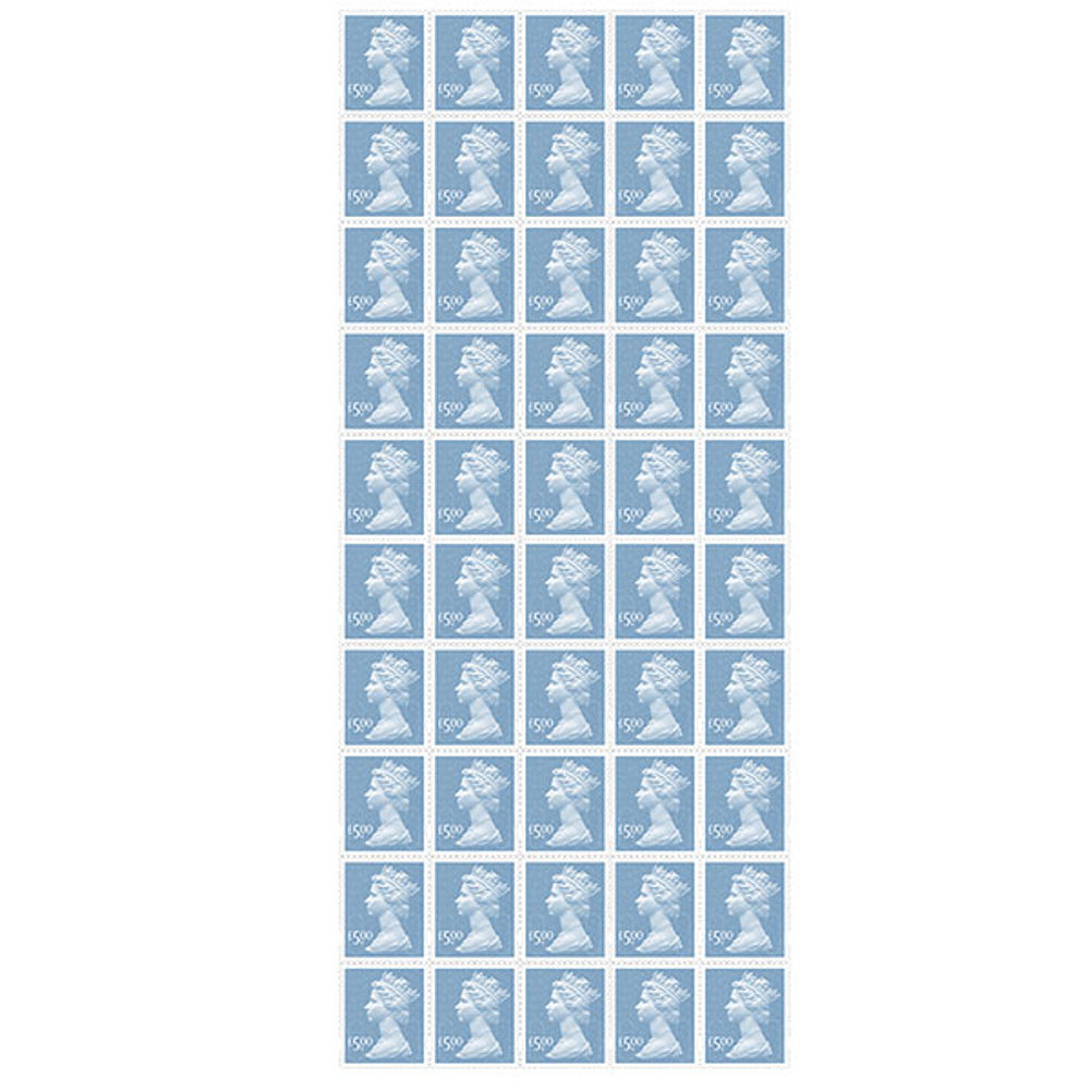 £5 Royal Mail Postage Stamps x 50 (Self Adhesive Stamp Sheet)