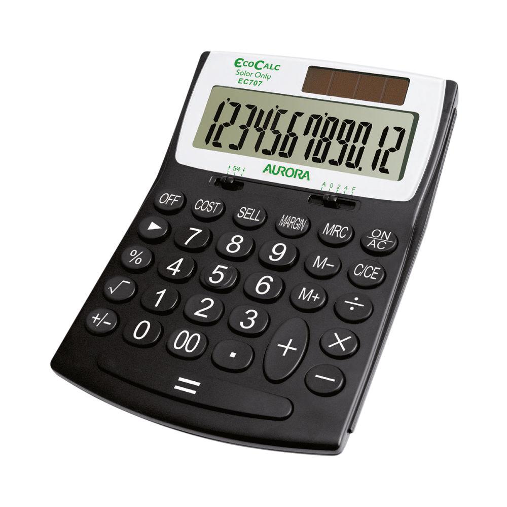 Aurora Black /White 12-Digit Desk Calculator EC707