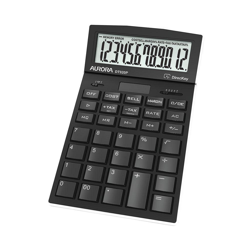 Aurora Black 12-Digit Desk Calculator DT920P