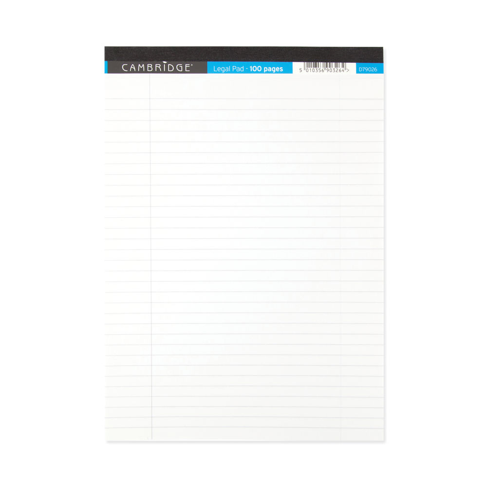 Cambridge Legal Pad 100P 70gsm A4 White (Pack of 10) 100080159