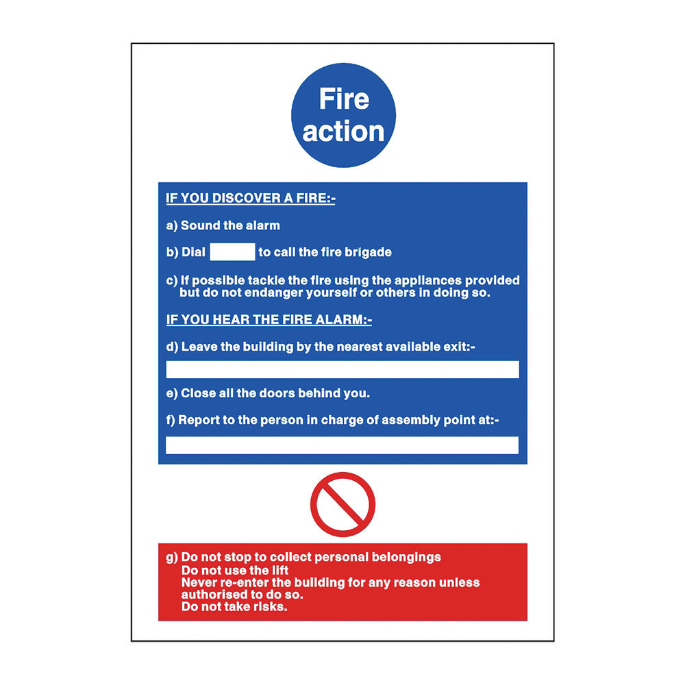 Safety Sign Fire Action Poster 210 x 297mm BS Compliant M011SAV