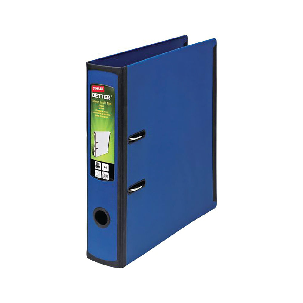 Staples Better Lever Arch File A4 75mm 2 Ring 316x291mm Capacity 560 Sheets Blue 8850933