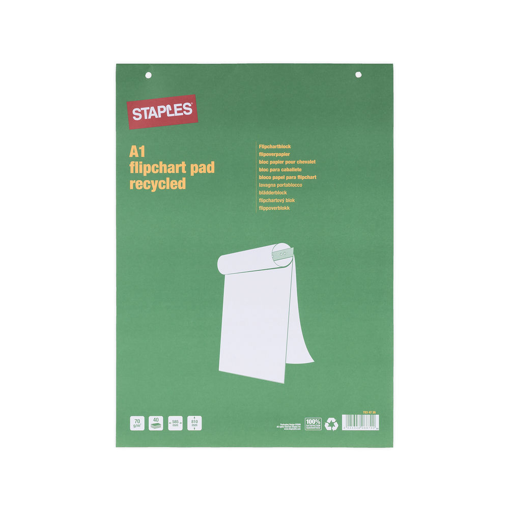Staples A1 Plain Paper Flipchart Pad 70gsm 40 page (Pack of 5) 7461424