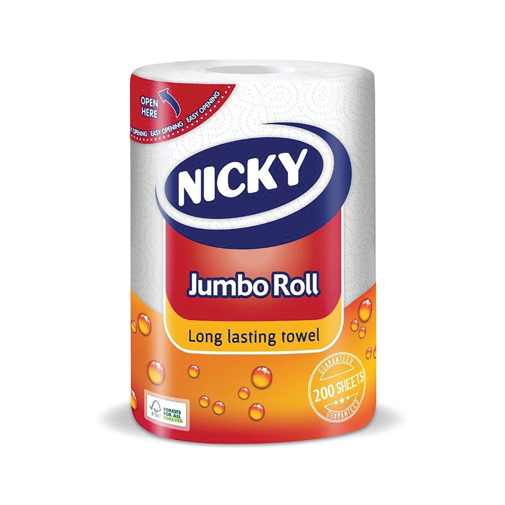 Nicky Jumbo Kitchen Roll 225 Sheets White (Pack of 12) 416371