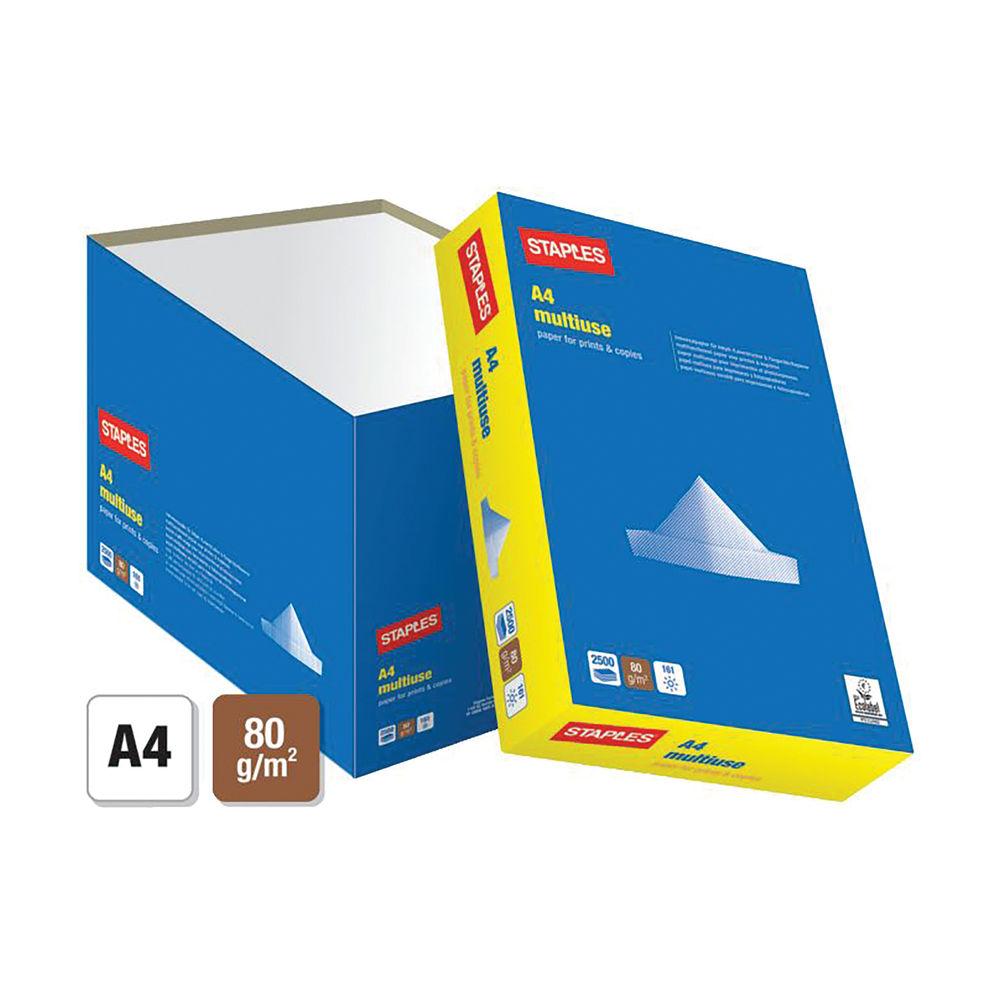 Staples A4 White Multiuse Paper 80gsm (Pack of 2500) STAMU080X426