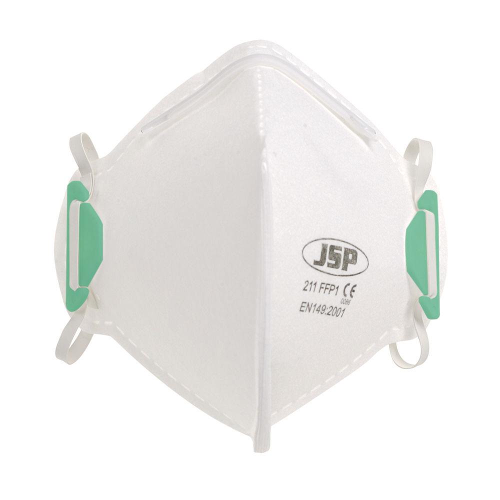 JSP FFP1 Face Mask Fold Flat Non-Valve White (Pack of 20) BEA110-101-B00