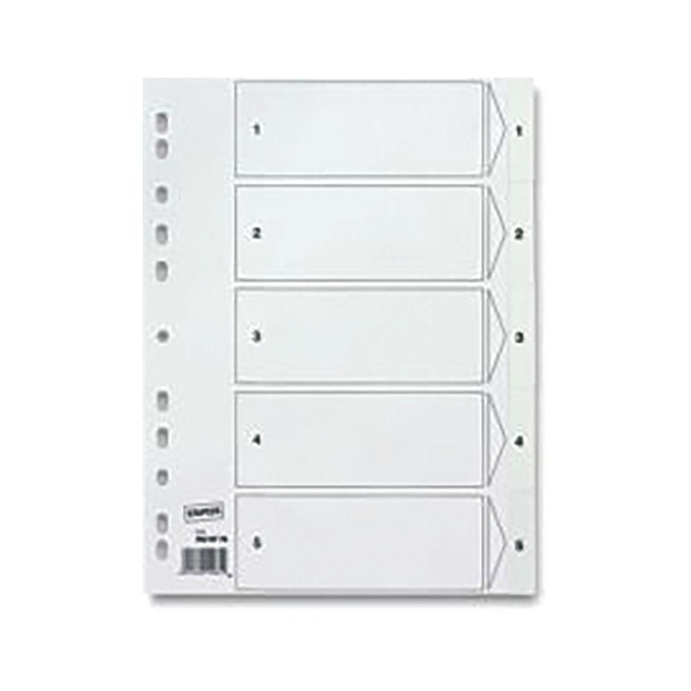 Staples 5-Part Pre-printed Divider A4 Polypropylene White 7016