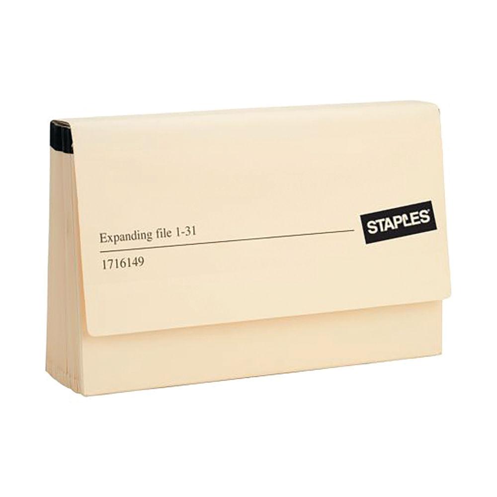 Staples Expanding File Foolscap 1-31 Cream EXPCA31ST