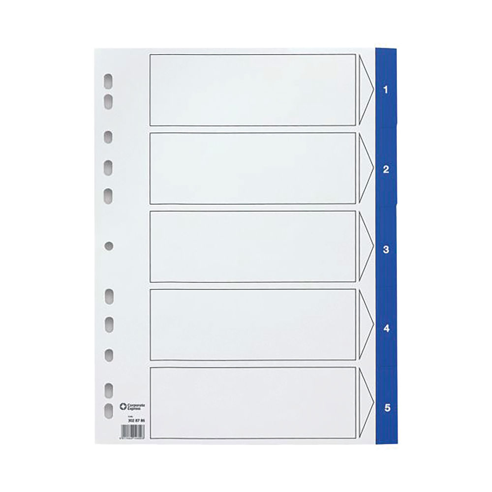 Staples Dividers 10-Part A4 Pre-printed Polypropylene Numeric Titles White Blue