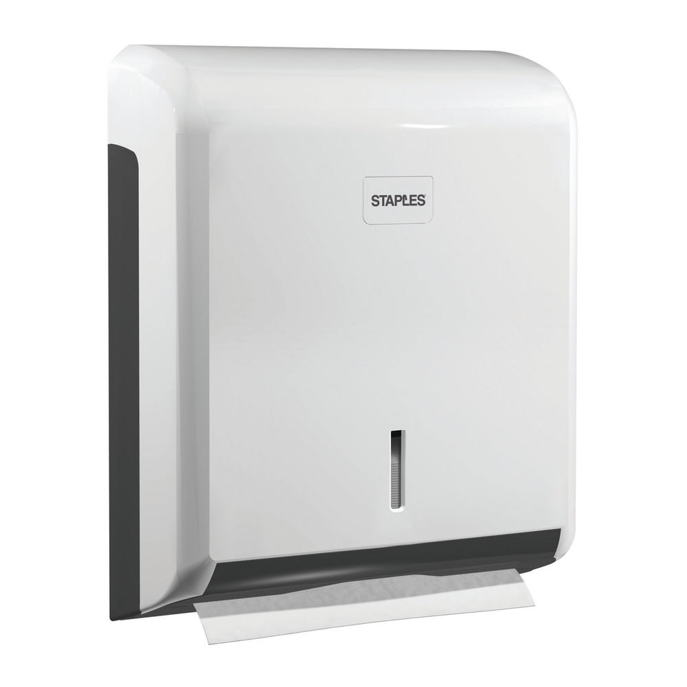 Staples Centrefeed Paper Hand Towel Dispenser 265x340x110mm Lockable ABS White 8851247