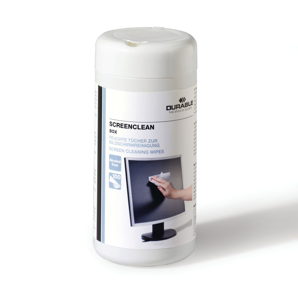 Durable Screenclean Box Cleaning Wipes White (Pack of 100) 5736/02