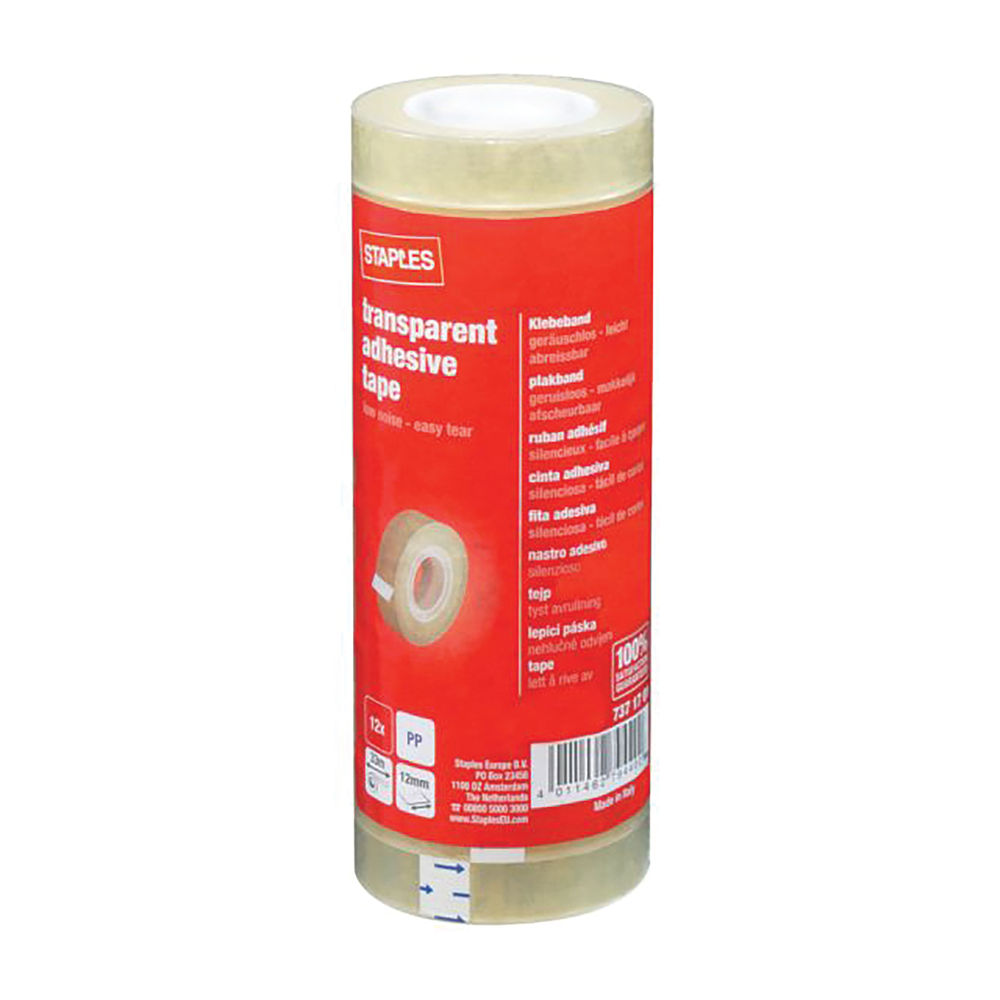 Staples Adhesive Tape 12mm x 30m Clear 7144
