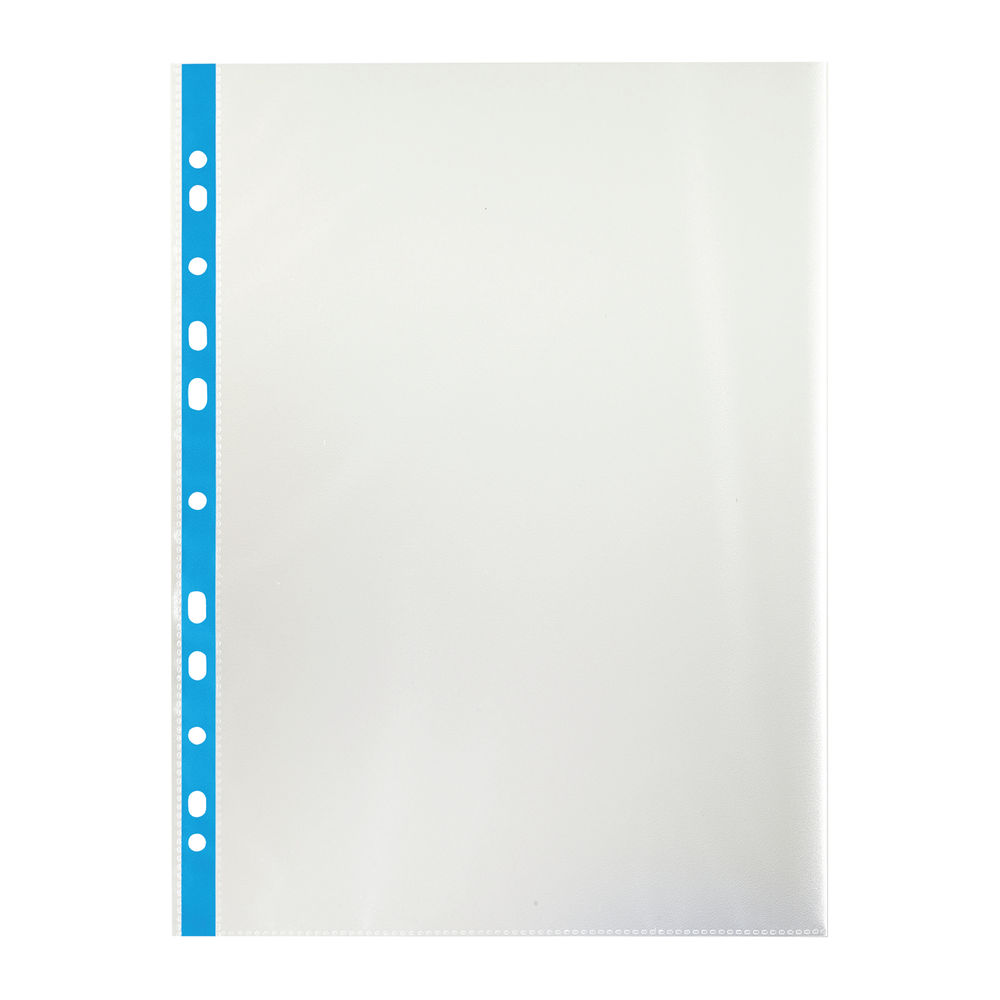 Staples Blue Strip A4 Plastic Punched Pocket (Pack of 100) 100742041