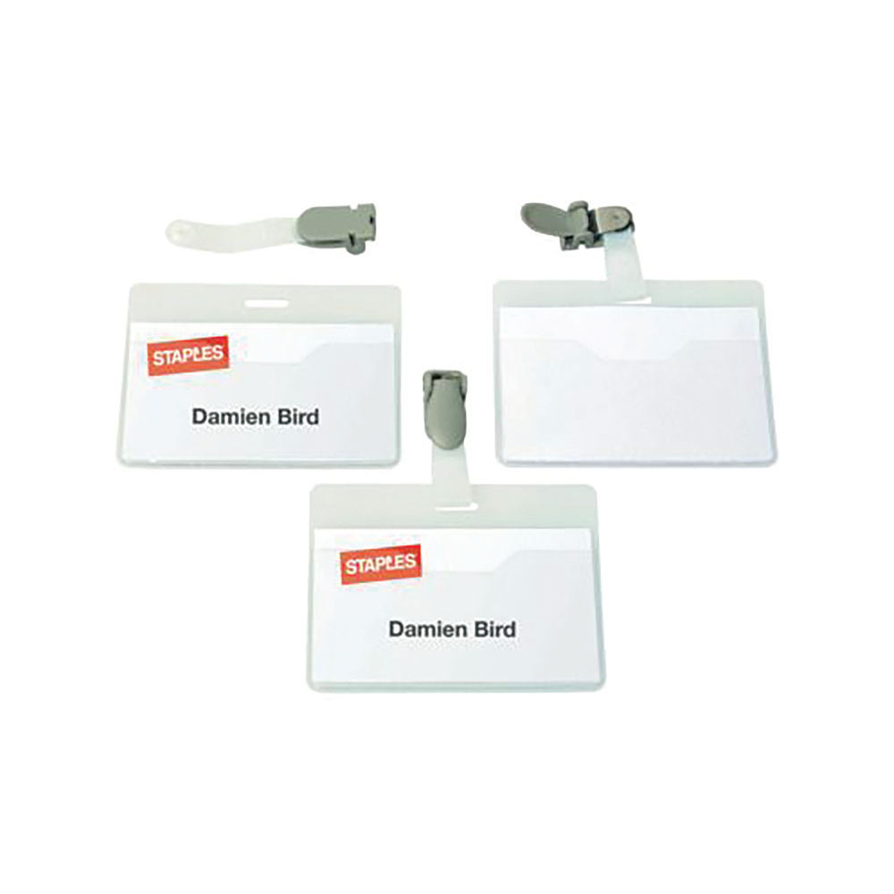 Staples Name Badge Rotating Clip 64 x 90mm Clear (Pack of 25) 8166/19