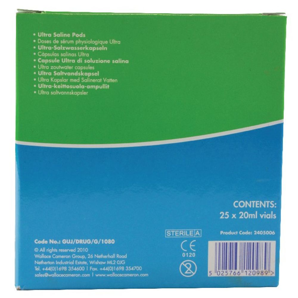 Wallace Cameron 20ml Saline Eye Pods, Pack of 25 - 2404042