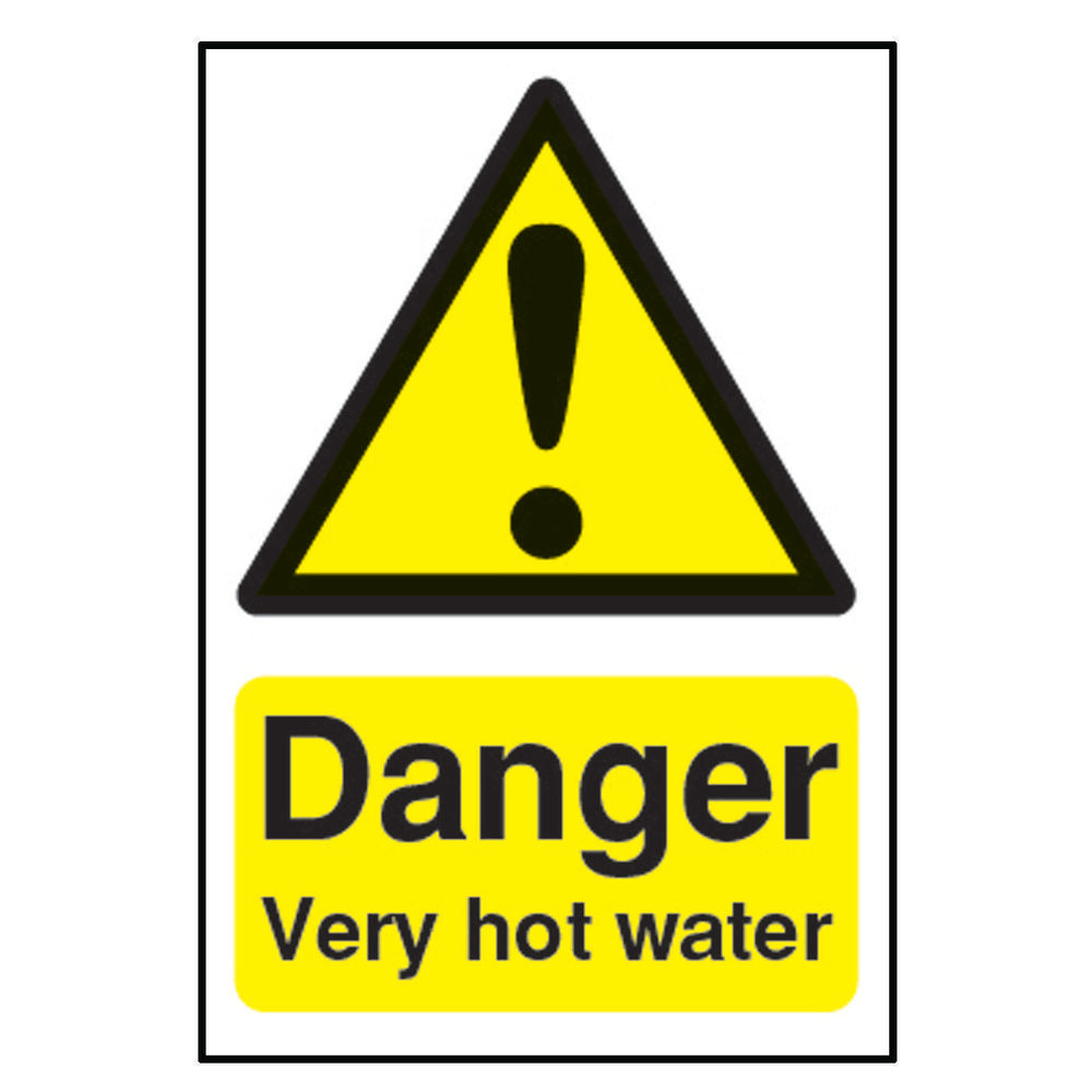 Danger 75 x 50mm Self-Adhesive Very Hot Water Safety Sign - HA17343S