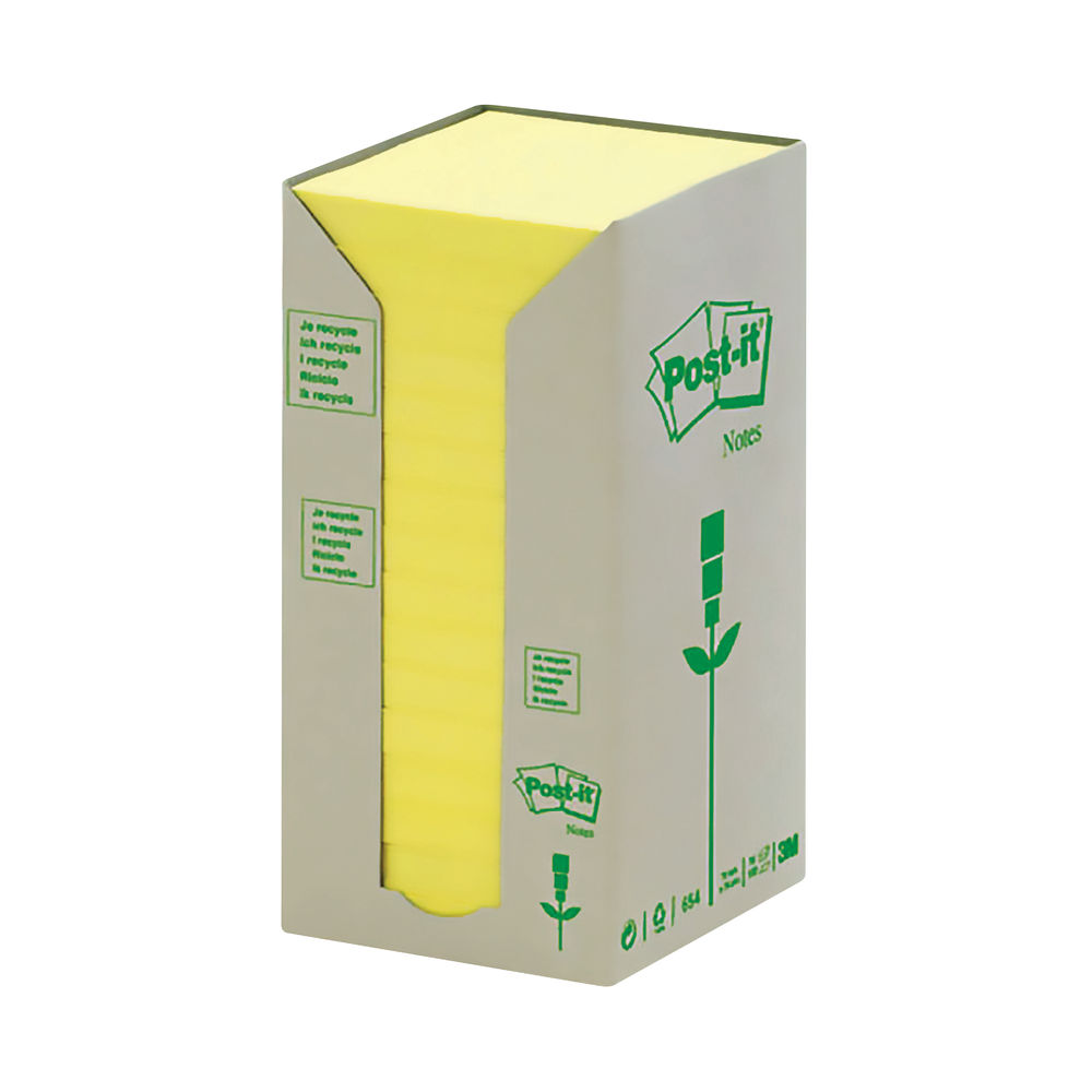 Post-it 76 x 76mm Canary Yellow Recycled Notes, Pack of 16   654-1T