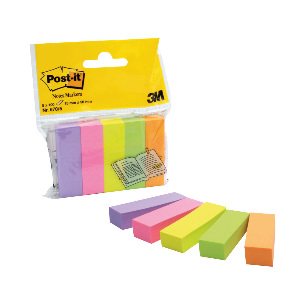Post-it Assorted 15 x 50mm Page Markers, Pack of 500 - 670-5