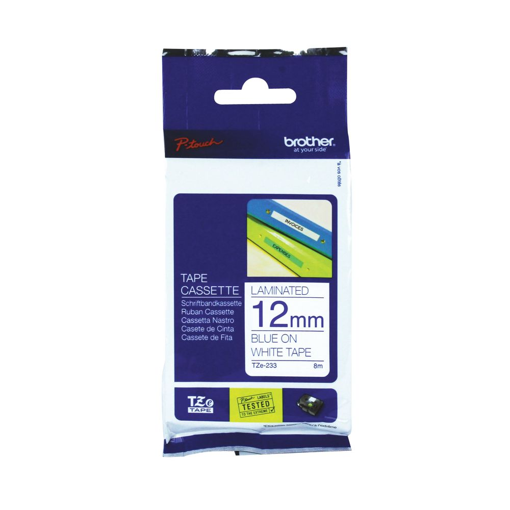Brother P-Touch 12mm Blue on White TZE-233 Labelling Tape