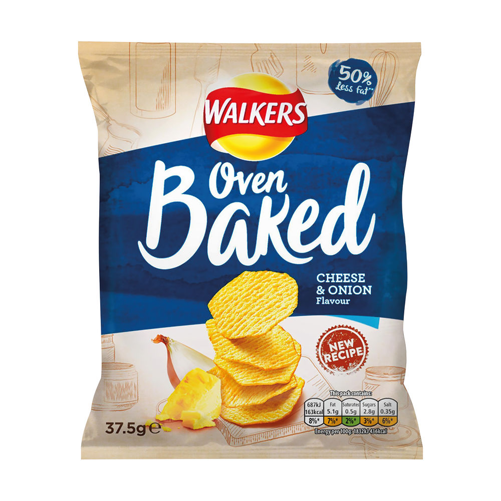 Walkers Cheese and Onion Oven Baked Crisps, Pack of 32 - 101011