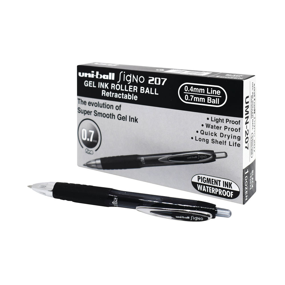 uni-ball Signo Retractable Gel Ink Black Rollerball Pens, Pack of 12 - MI92912