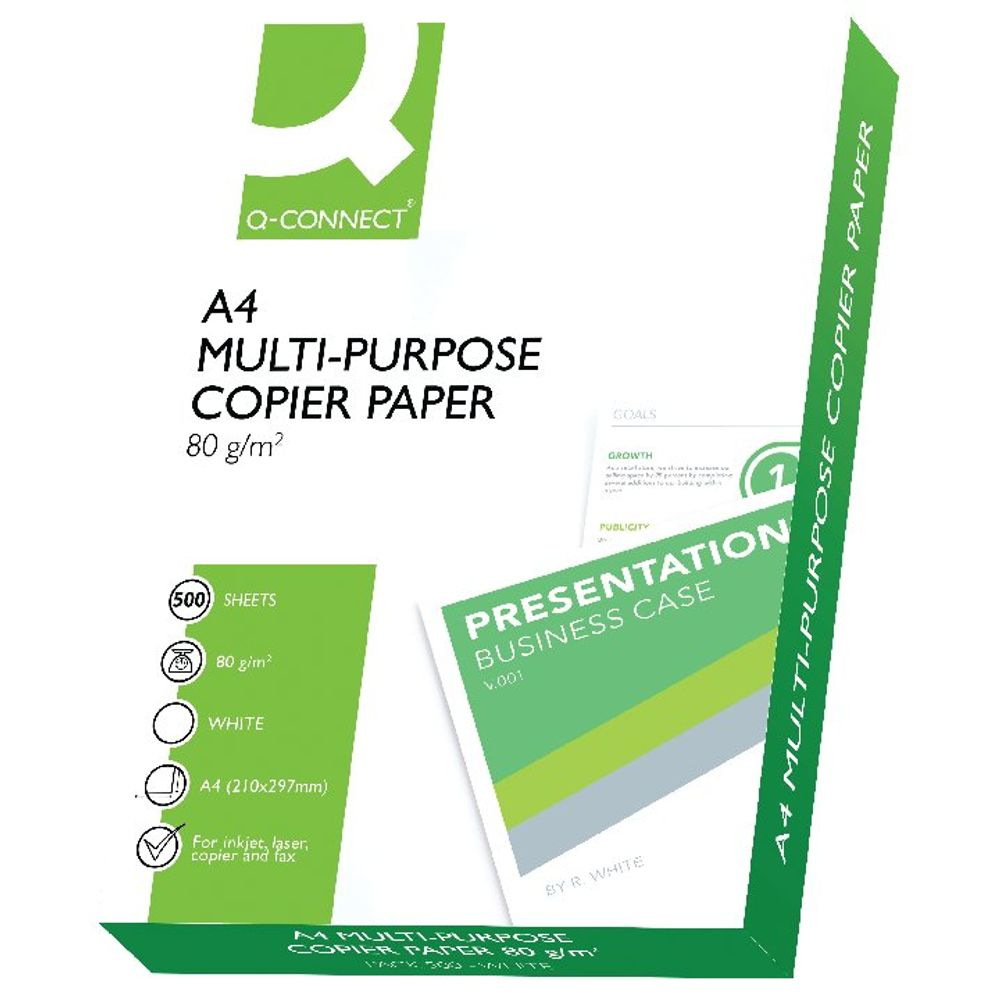 Q-Connect White A4 Copier Paper 80gsm (2500 sheets - 5 Reams - 1 Box) KF01087