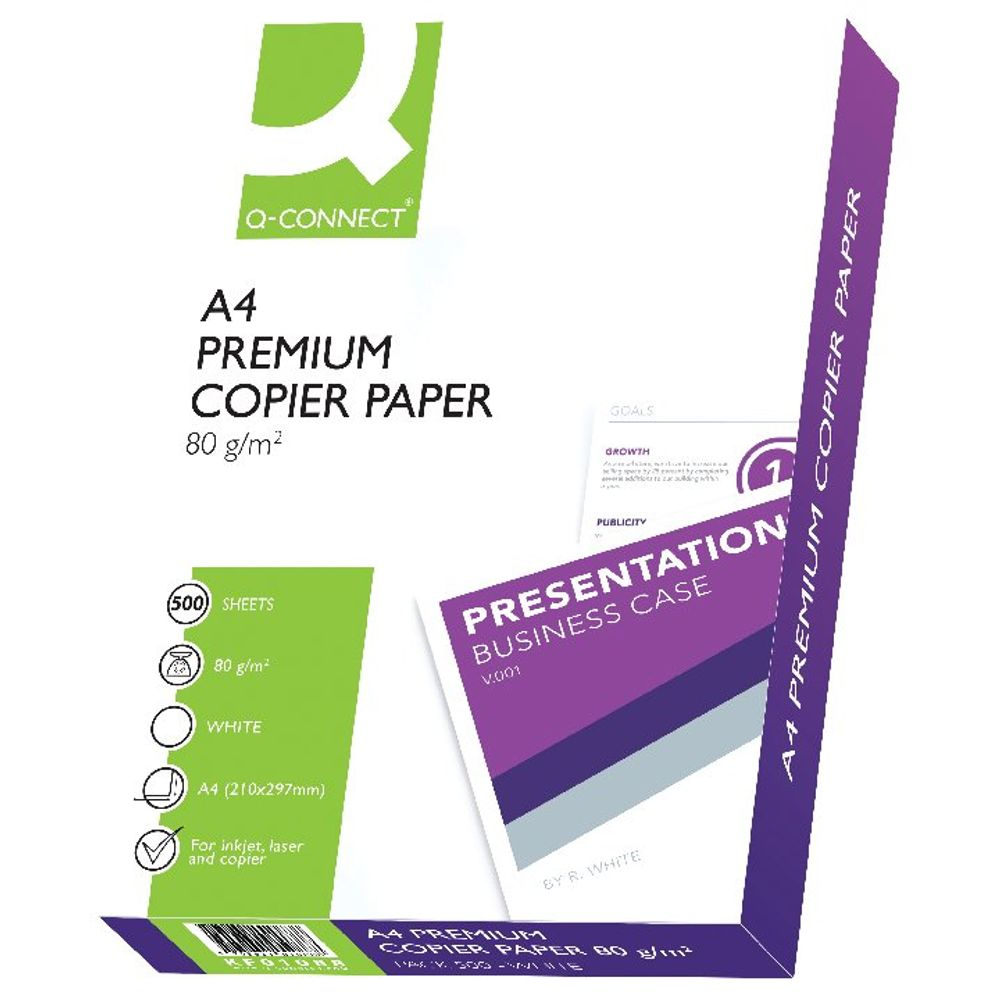 Q-Connect Premium White A4 Copier/Laser Paper 80gsm - 5 Reams KF01088A