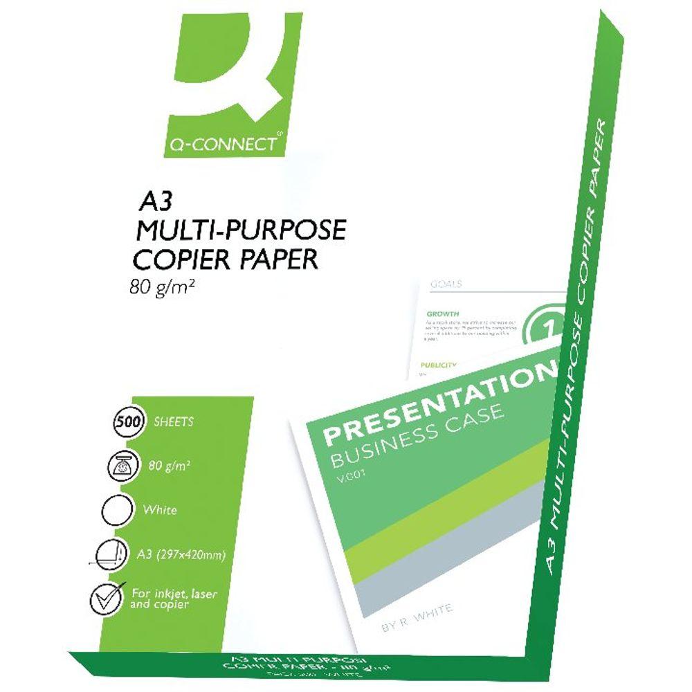 Q-Connect White A3 Copier Paper 80gsm - 500 Sheets KF01089