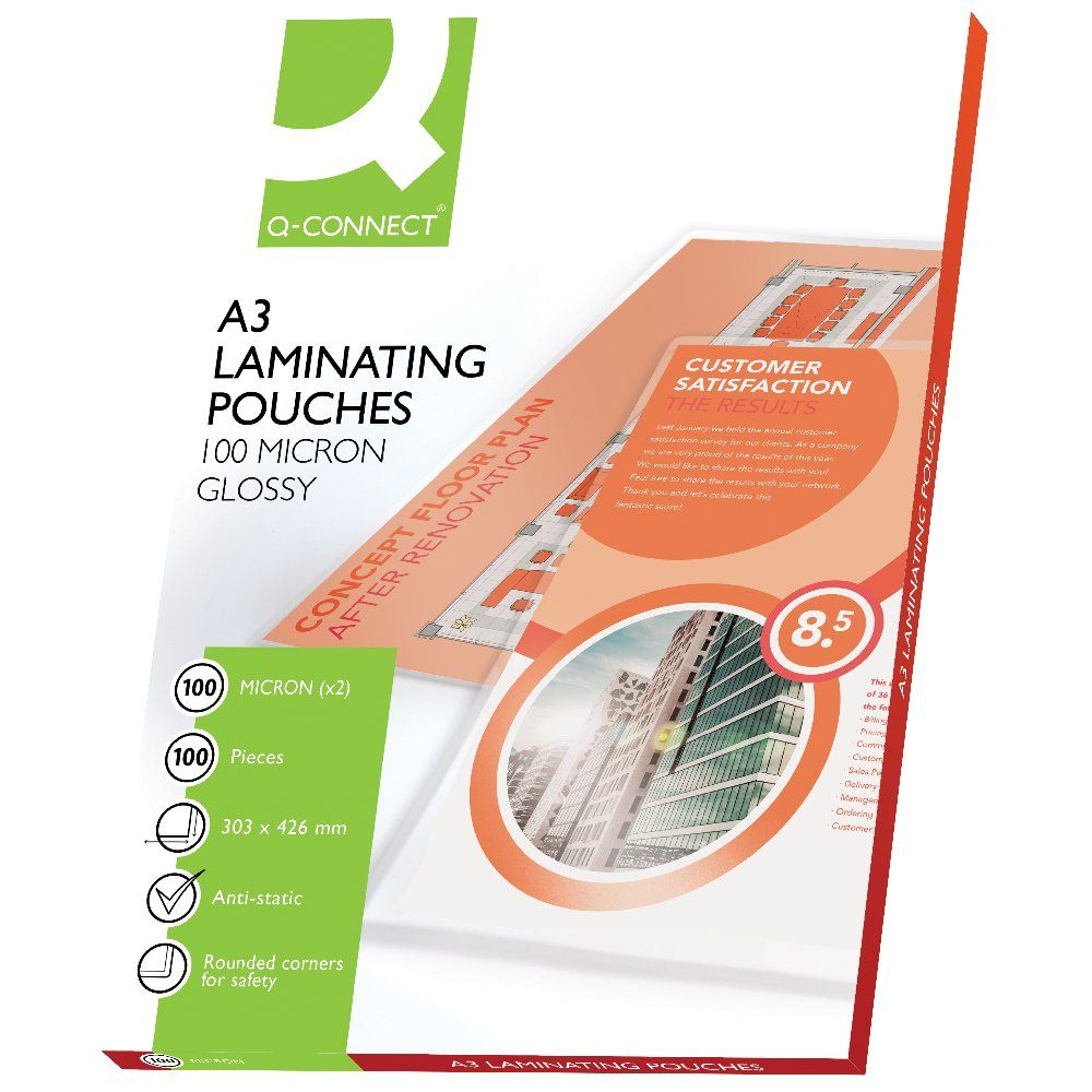 Q-Connect A3 Gloss Laminating Pouches, Pack of 100 - KF04123