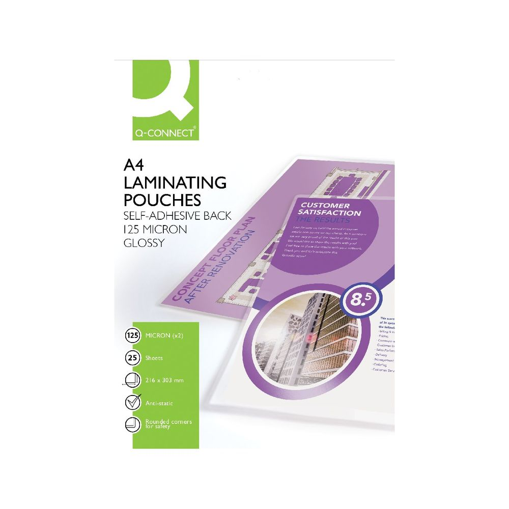 Q-Connect A4 Matt Sticky-Backed Laminating Pouches, Pack of 25 - KF24056