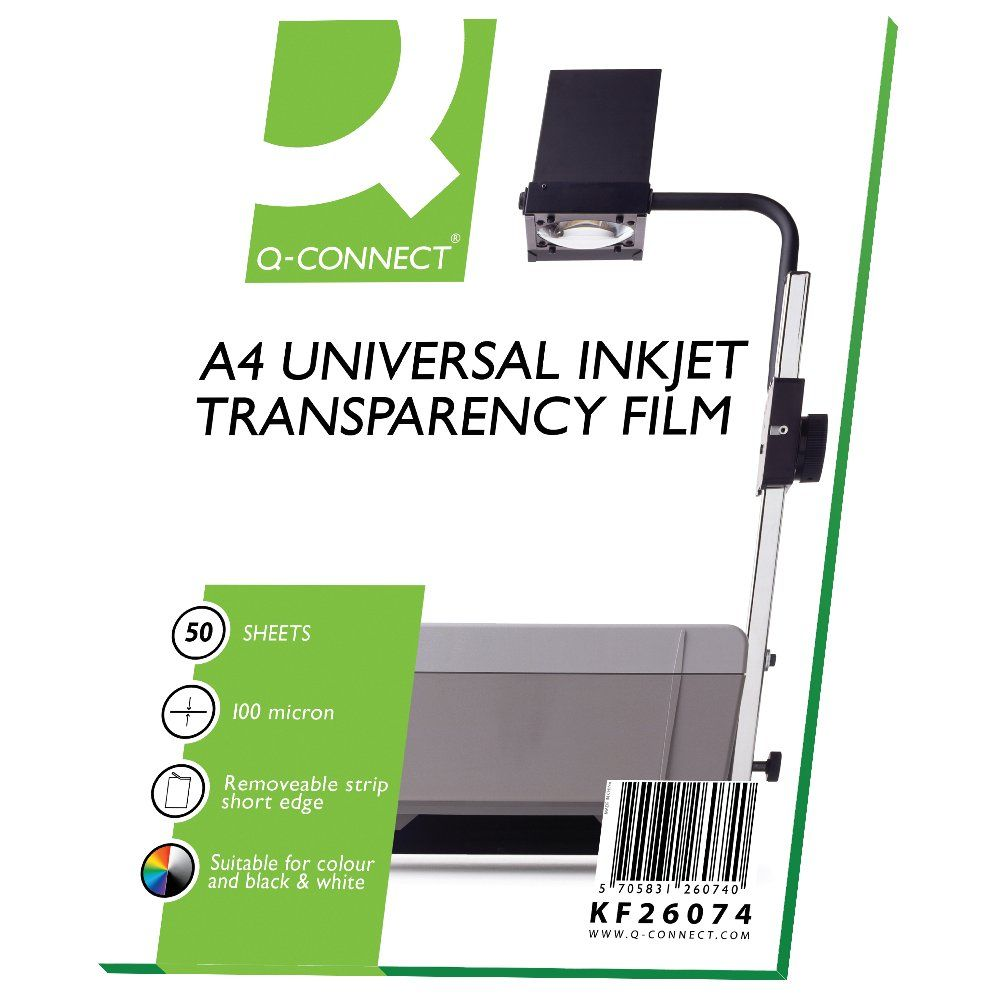 Q-Connect A4 Overhead Projector Inkjet Film, Pack of 50 - ST52831