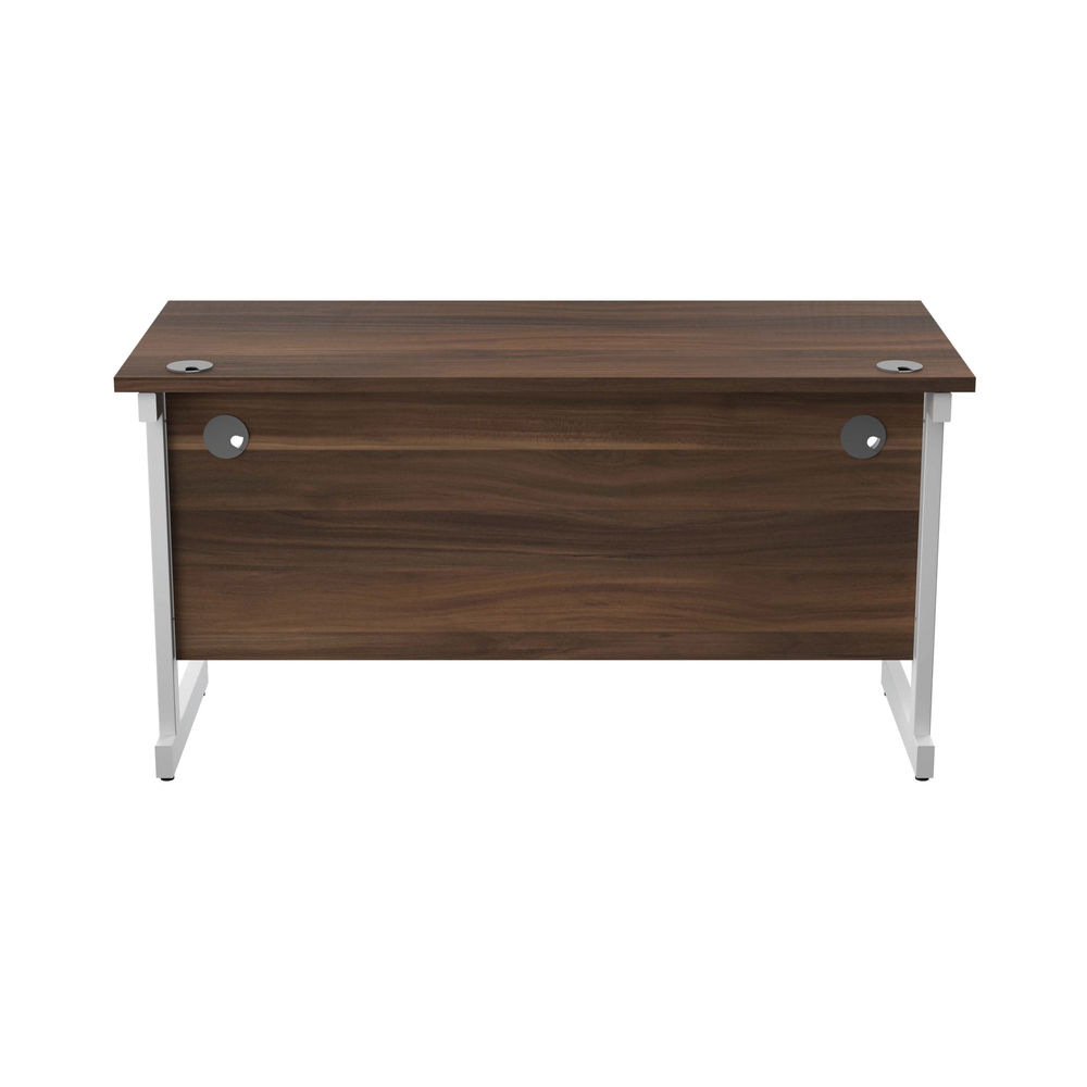 Jemini 1400x600mm Dark Walnut/White Single Rectangular Desk