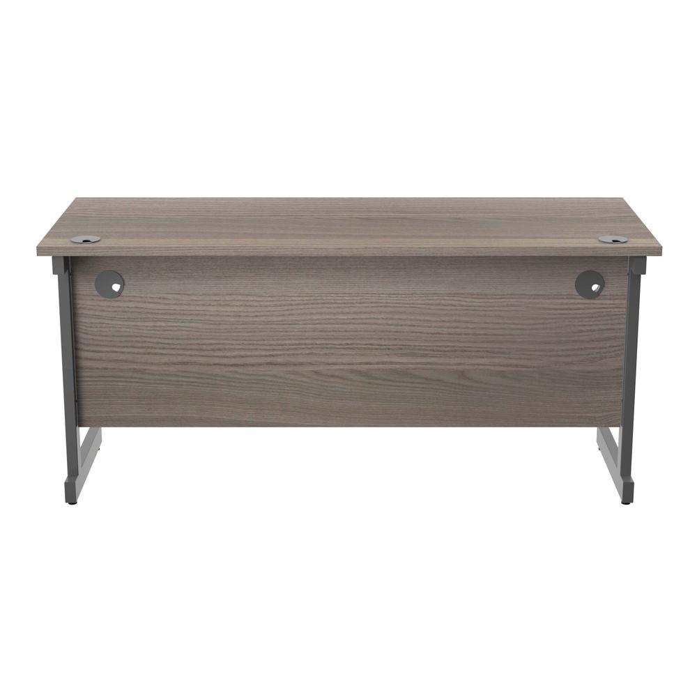 Jemini 1600x600mm Grey Oak/Silver Single Rectangular Desk