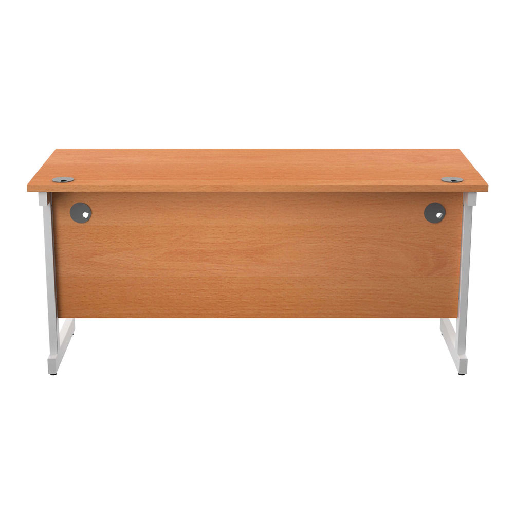 Jemini 1600x600mm Beech/White Single Rectangular Desk