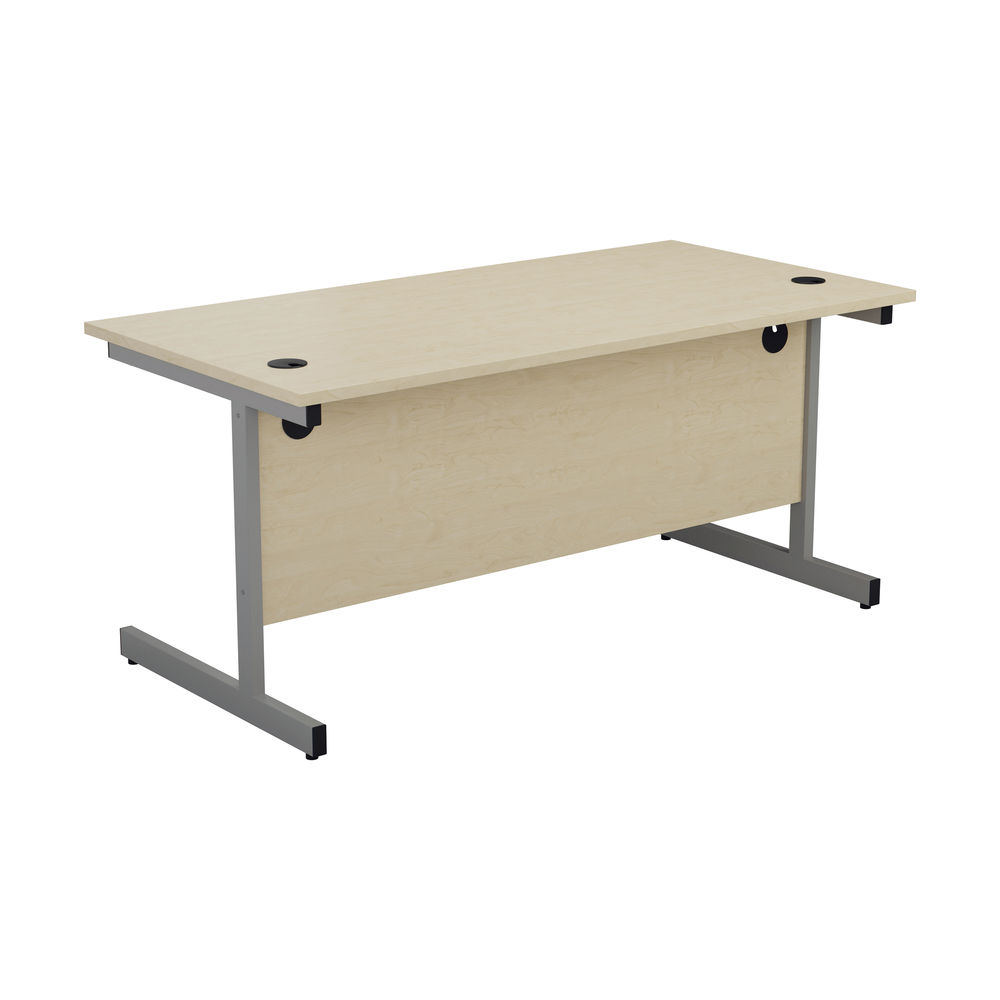 Jemini 1600x800mm Maple/Silver Single Rectangular Desk