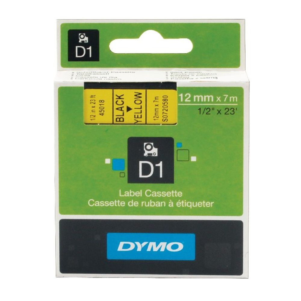 Dymo D1 Label Tape Black on Yellow 12mmx7m - S0720580